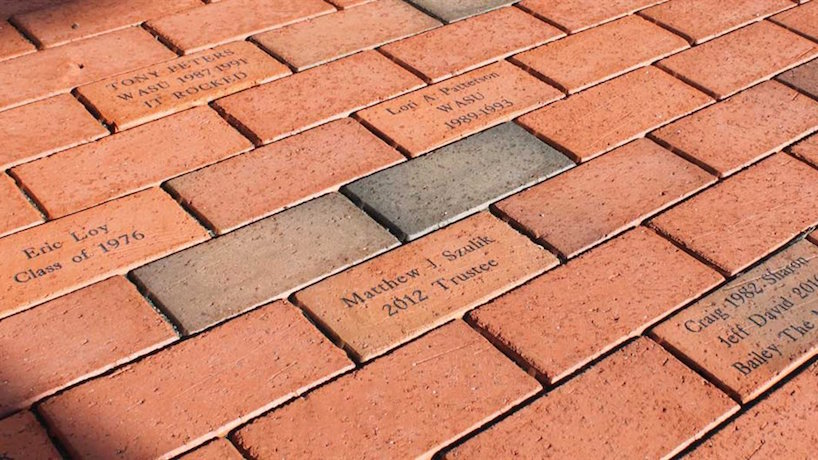 bricks with names of donors