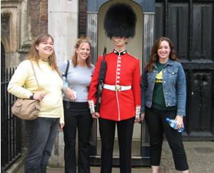 students with British Royal Guard