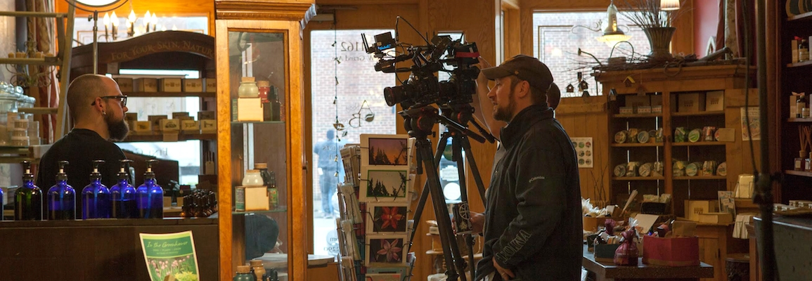 "Kelly Davis, an assistant communication professor at Appalachian State University, on set directing ""A Craftsman's Legacy"""