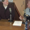 student and interviewee in radio studio